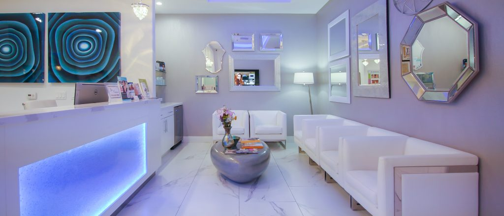 Photo of a beautiful modern lobby in a Las Vegas medical spa.